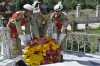 Laying Floral Wreath at Mazar